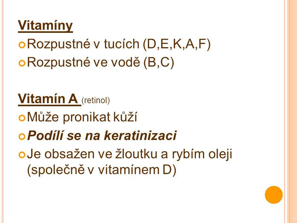 Vitamíny Rozpustné v tucích (D,E,K,A,F) Rozpustné ve vodě (B,C) Vitamín A (retinol) Může pronikat kůží.