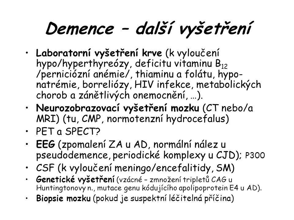 Demence – další vyšetření