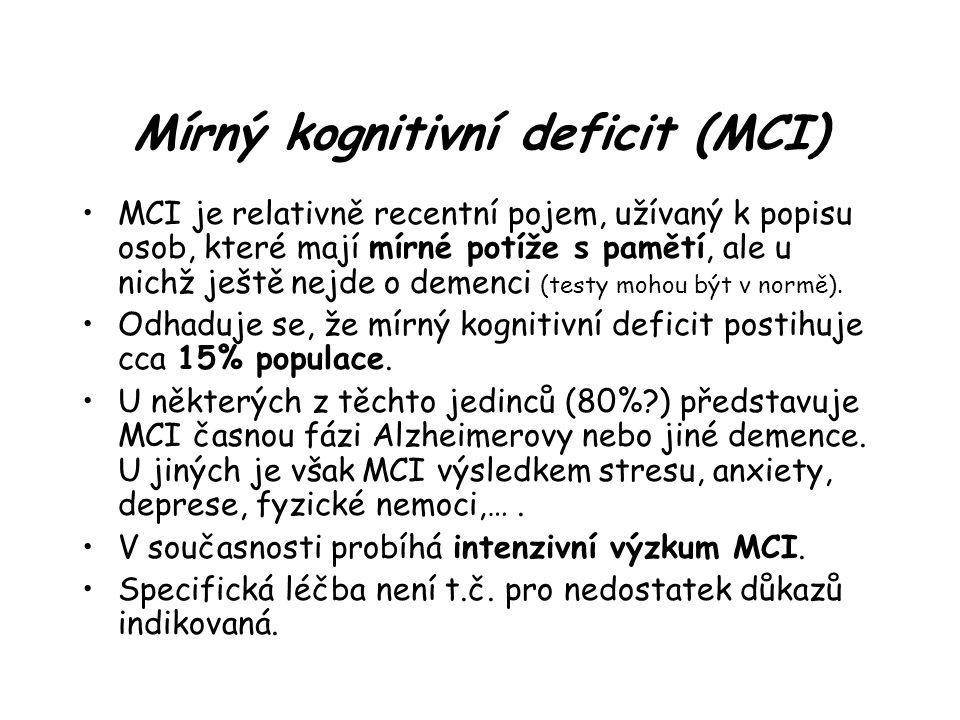 Mírný kognitivní deficit (MCI)