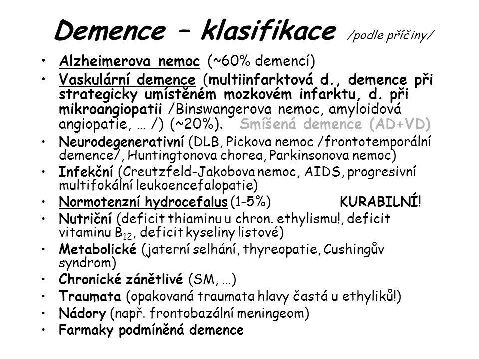 Demence – klasifikace /podle příčiny/