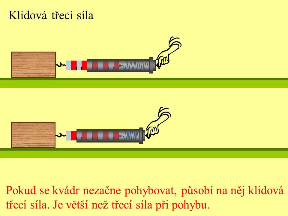 Klidová třecí síla Pokud se kvádr nezačne pohybovat, působí na něj klidová.