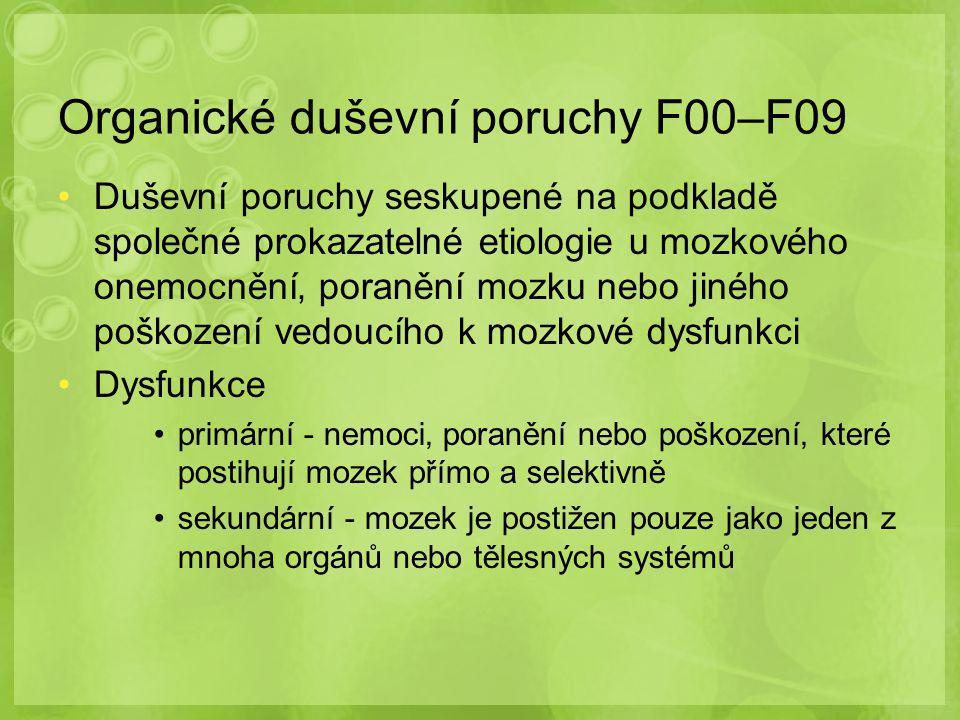 Organické duševní poruchy F00–F09