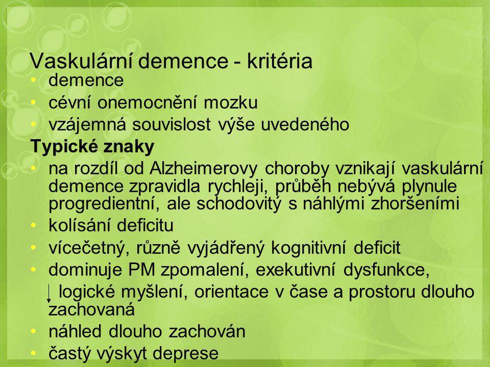 Vaskulární demence - kritéria