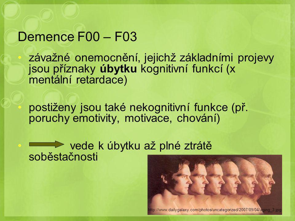 Demence F00 – F03 závažné onemocnění, jejichž základními projevy jsou příznaky úbytku kognitivní funkcí (x mentální retardace)