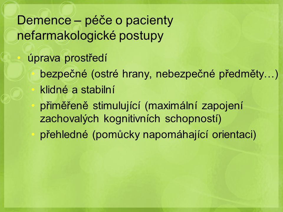 Demence – péče o pacienty nefarmakologické postupy