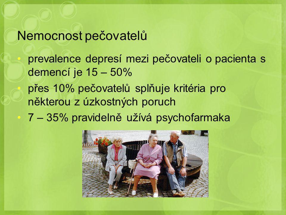 Nemocnost pečovatelů prevalence depresí mezi pečovateli o pacienta s demencí je 15 – 50%