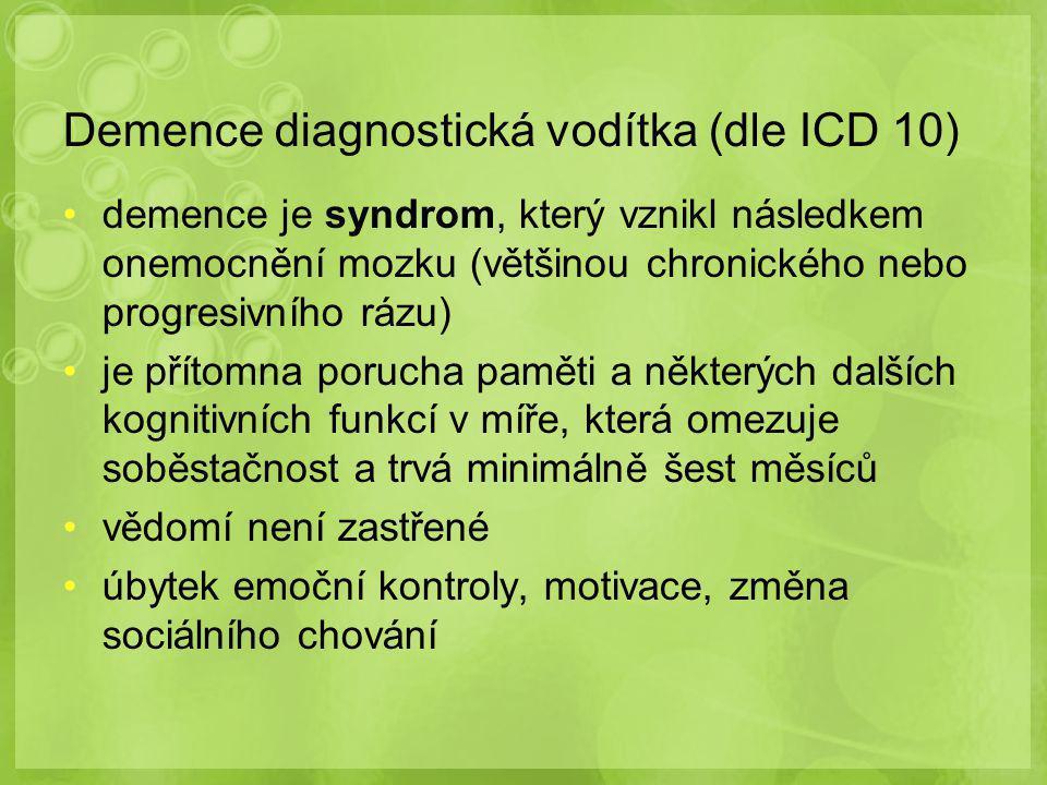 Demence diagnostická vodítka (dle ICD 10)