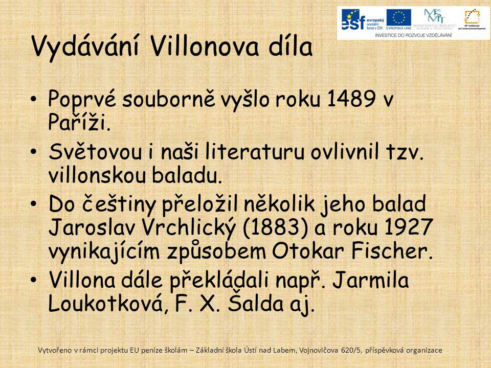 Vydávání Villonova díla