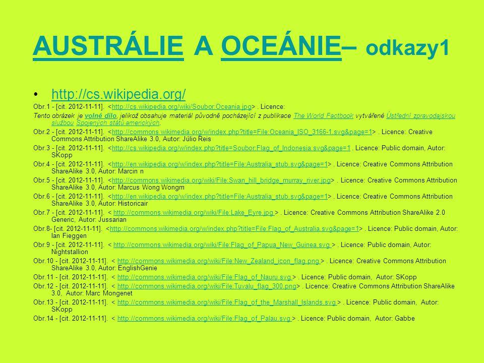 AUSTRÁLIE A OCEÁNIE– odkazy1