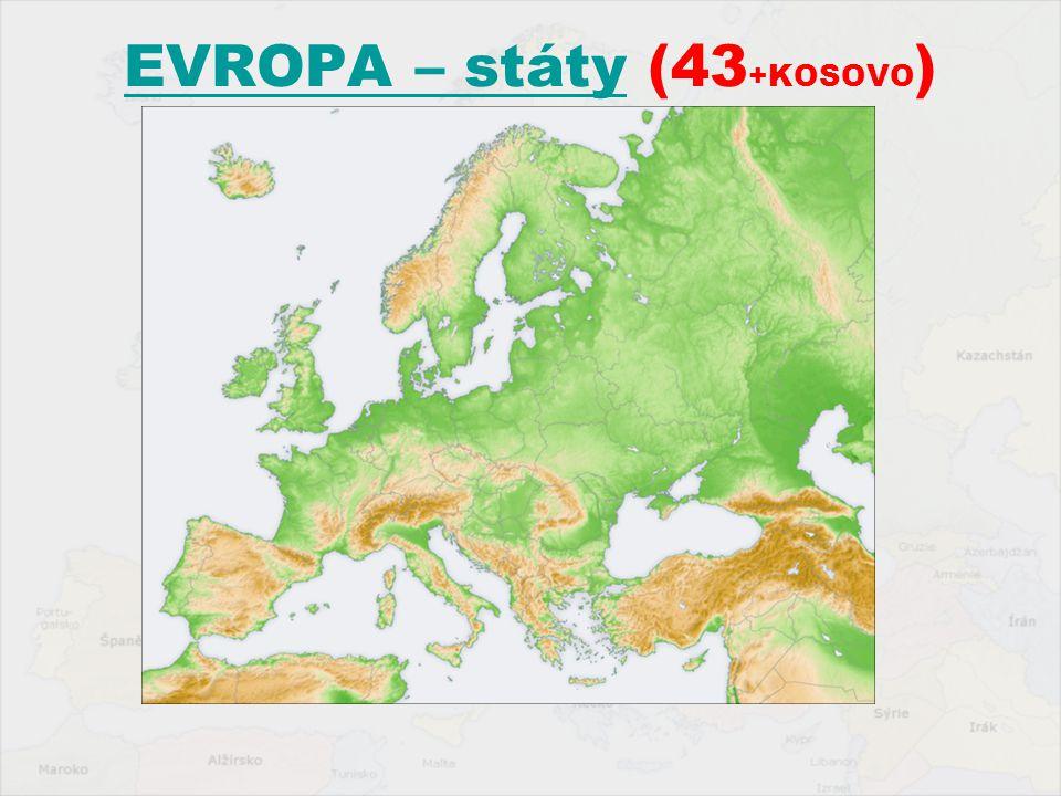 EVROPA – státy (43+KOSOVO)