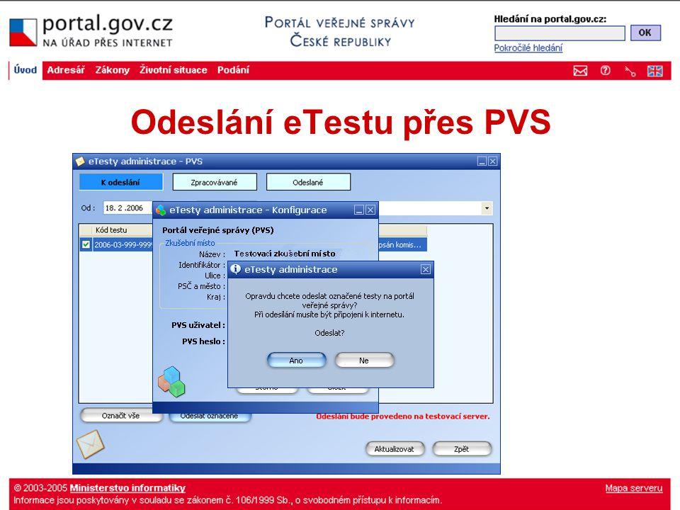 Odeslání eTestu přes PVS