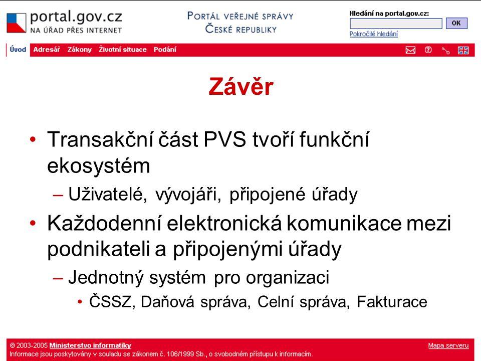 Závěr Transakční část PVS tvoří funkční ekosystém