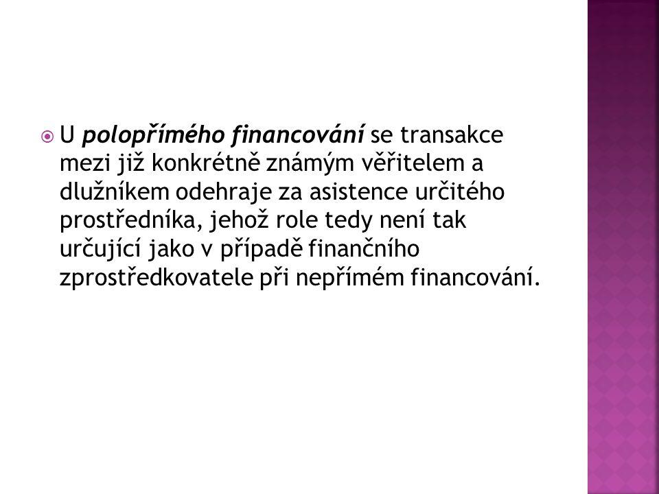 U polopřímého financování se transakce mezi již konkrétně známým věřitelem a dlužníkem odehraje za asistence určitého prostředníka, jehož role tedy není tak určující jako v případě finančního zprostředkovatele při nepřímém financování.