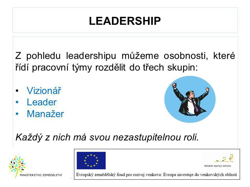LEADERSHIP Z pohledu leadershipu můžeme osobnosti, které řídí pracovní týmy rozdělit do třech skupin: