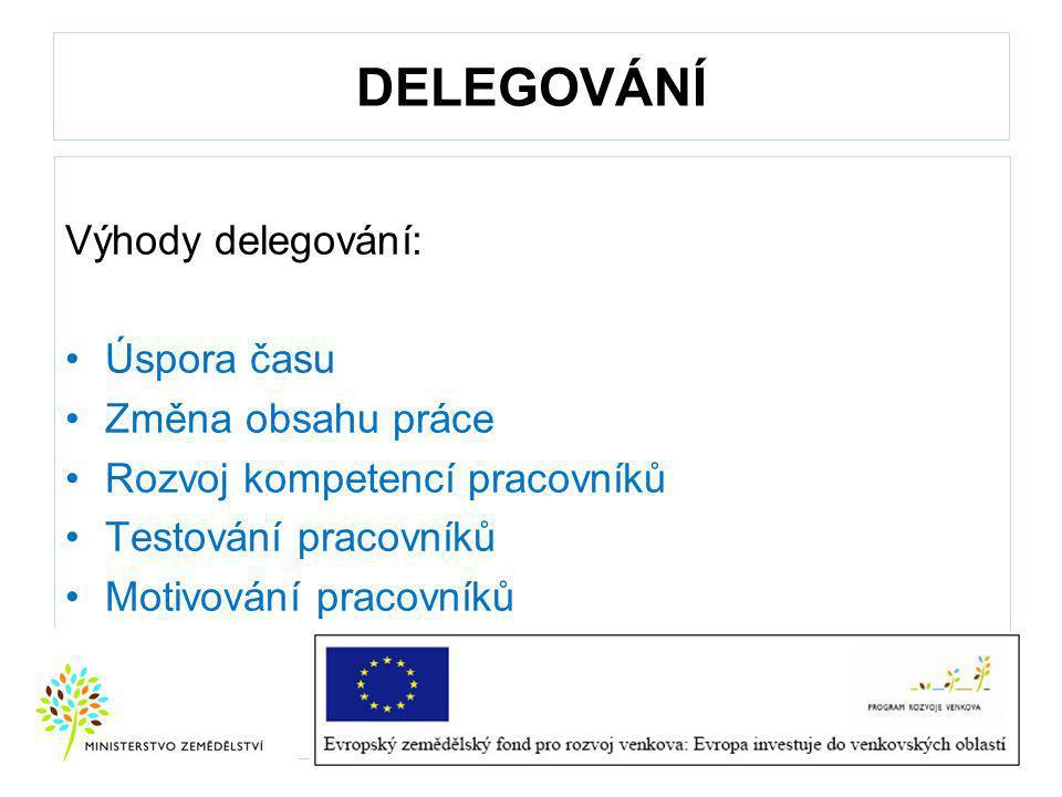 DELEGOVÁNÍ Výhody delegování: Úspora času Změna obsahu práce
