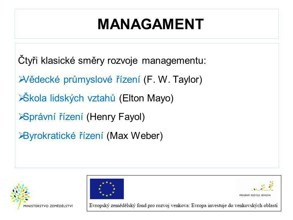 MANAGAMENT Čtyři klasické směry rozvoje managementu: