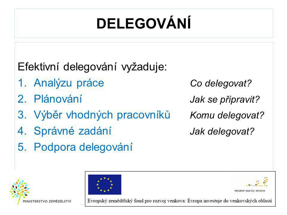 DELEGOVÁNÍ Efektivní delegování vyžaduje: Analýzu práce Co delegovat
