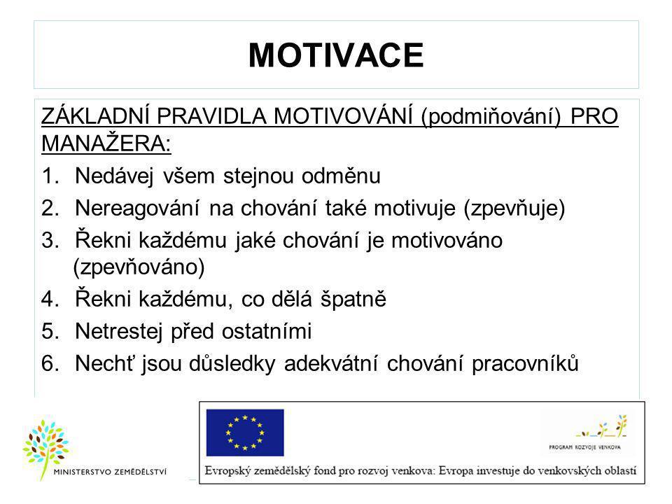 MOTIVACE ZÁKLADNÍ PRAVIDLA MOTIVOVÁNÍ (podmiňování) PRO MANAŽERA: