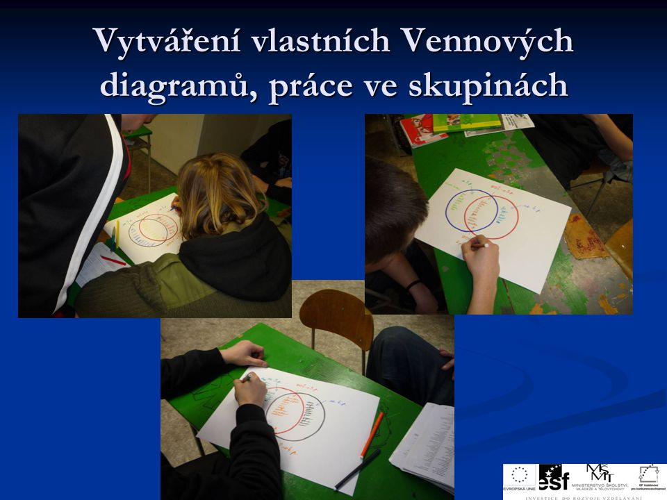 Vytváření vlastních Vennových diagramů, práce ve skupinách