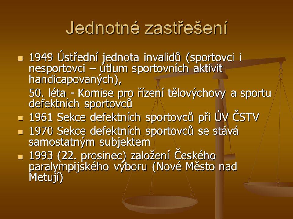 Jednotné zastřešení 1949 Ústřední jednota invalidů (sportovci i nesportovci – útlum sportovních aktivit handicapovaných),