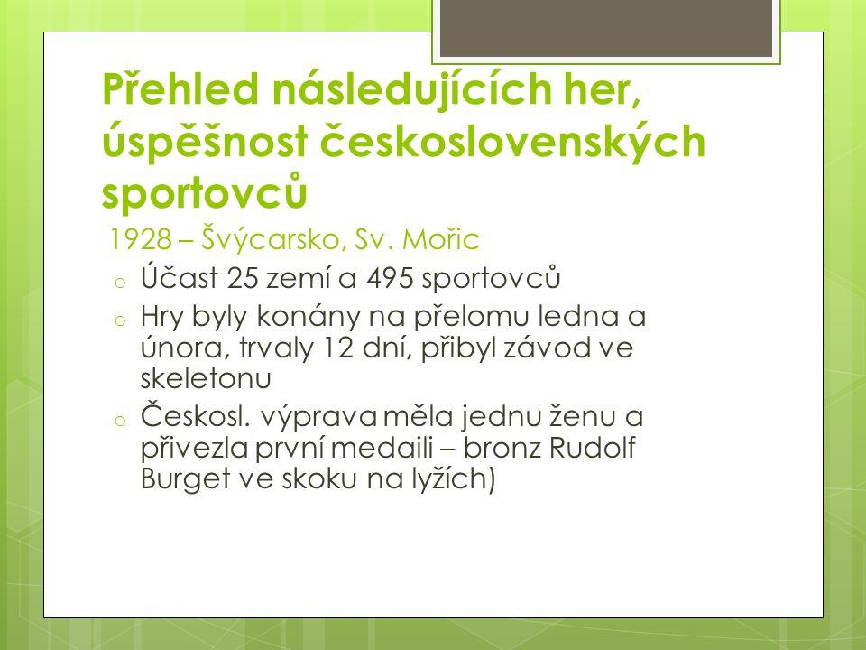 Přehled následujících her, úspěšnost československých sportovců