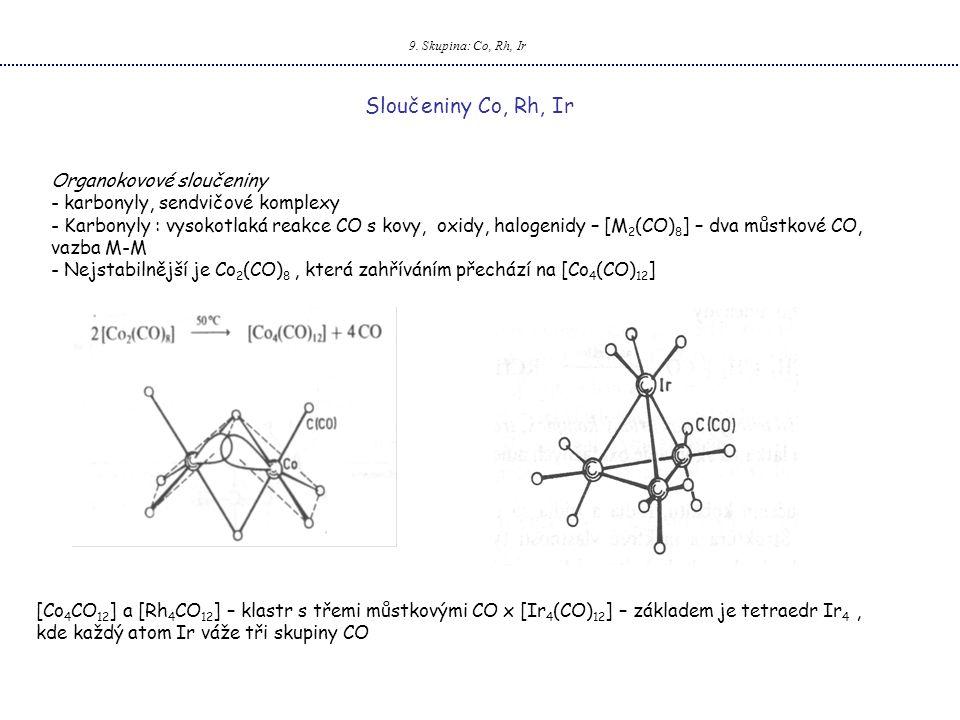 Sloučeniny Co, Rh, Ir Organokovové sloučeniny
