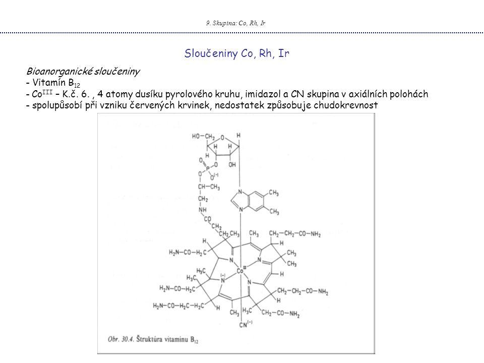 Sloučeniny Co, Rh, Ir Bioanorganické sloučeniny Vitamín B12