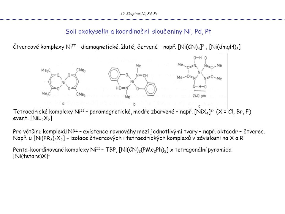 Soli oxokyselin a koordinační sloučeniny Ni, Pd, Pt