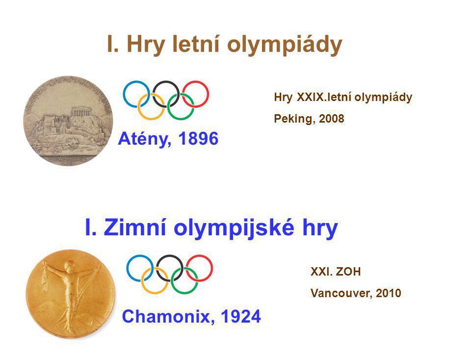 I. Hry letní olympiády I. Zimní olympijské hry Atény, 1896