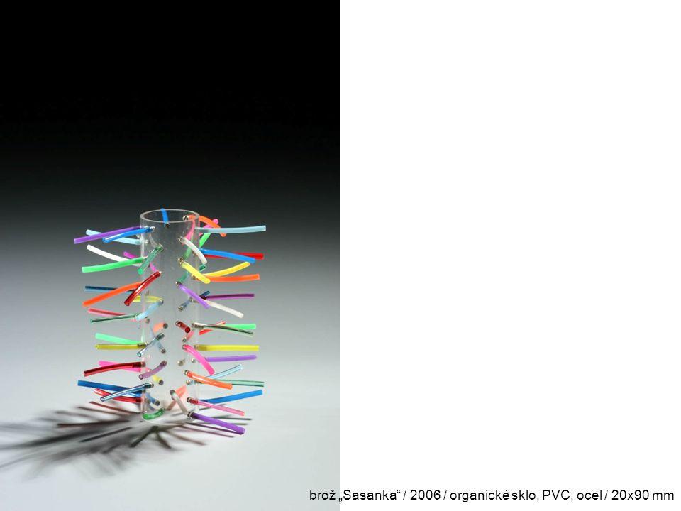 "brož ""Sasanka / 2006 / organické sklo, PVC, ocel / 20x90 mm"