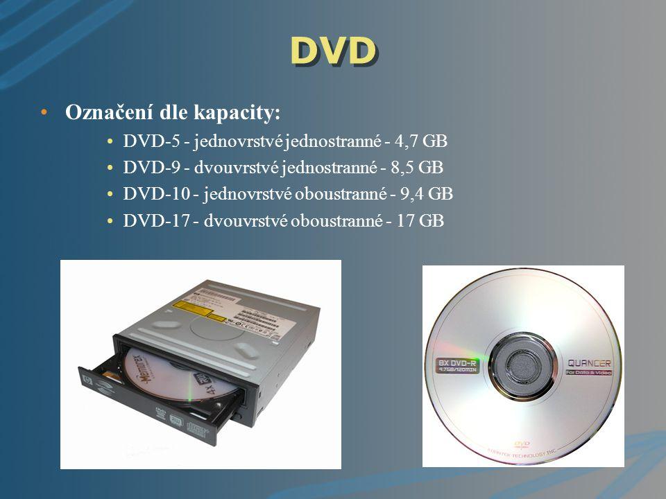 DVD Označení dle kapacity: DVD-5 - jednovrstvé jednostranné - 4,7 GB