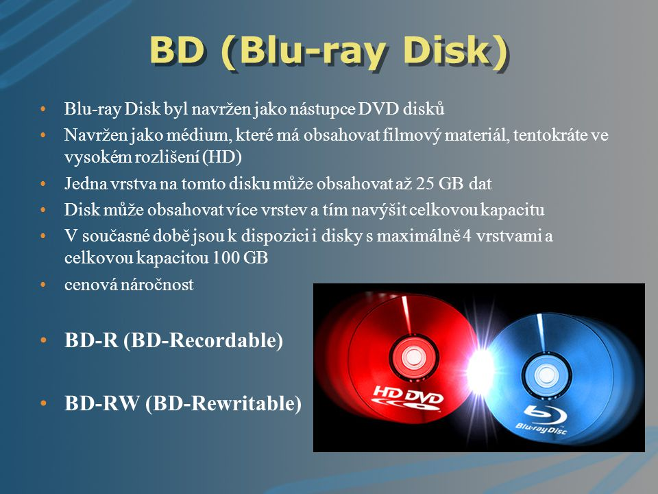 BD (Blu-ray Disk) BD-R (BD-Recordable) BD-RW (BD-Rewritable)