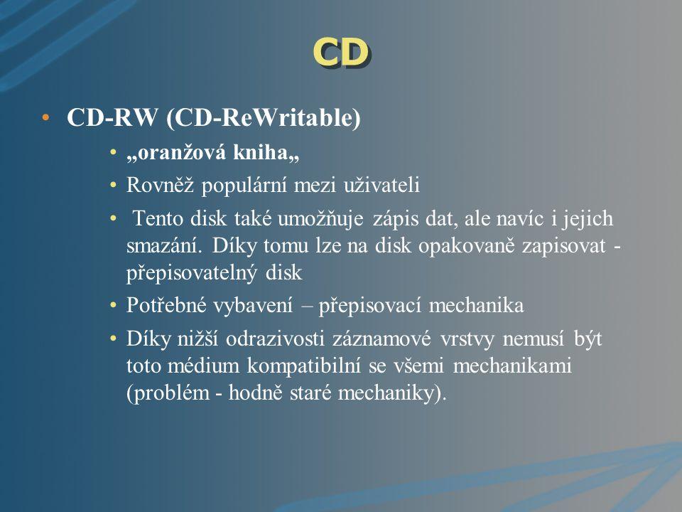 """CD CD-RW (CD-ReWritable) """"oranžová kniha"""""""