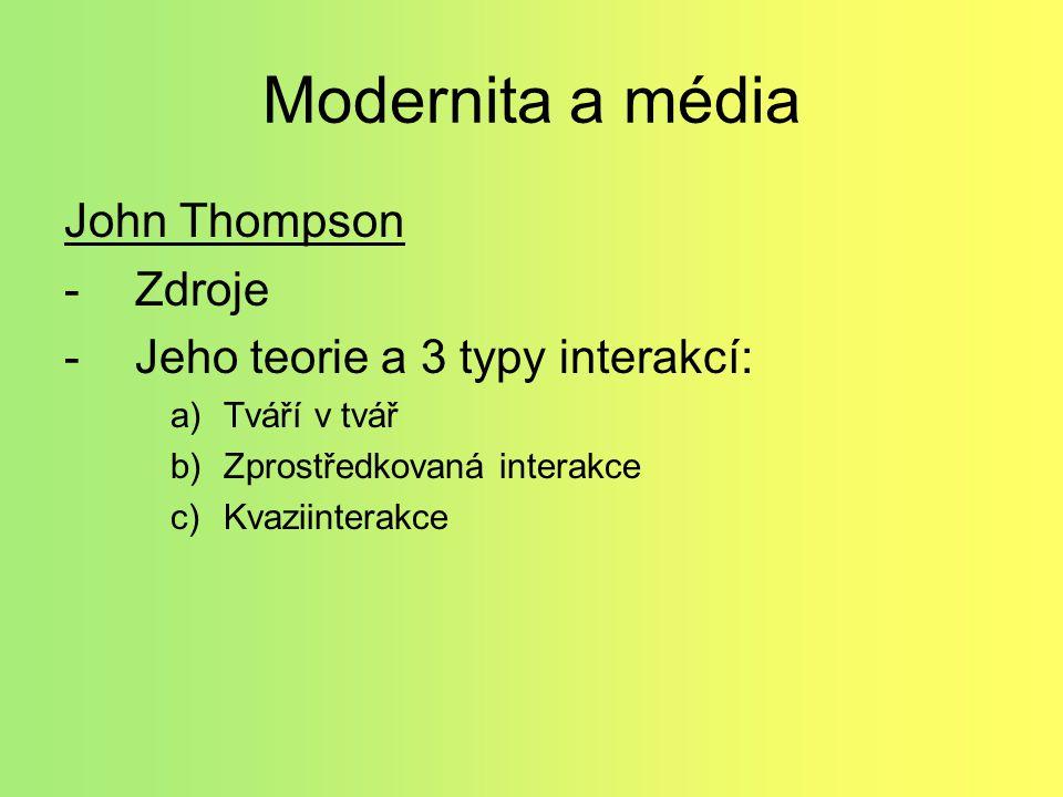 Modernita a média John Thompson Zdroje Jeho teorie a 3 typy interakcí: