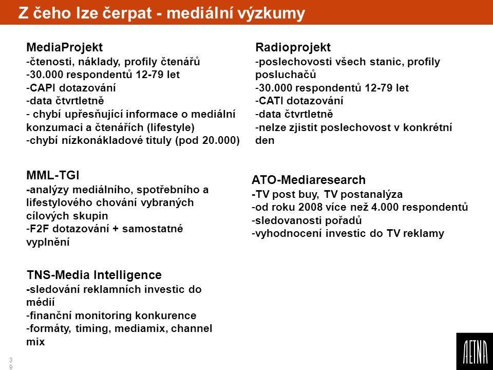 Z čeho lze čerpat - mediální výzkumy
