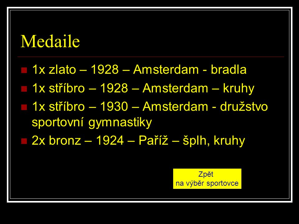 Medaile 1x zlato – 1928 – Amsterdam - bradla