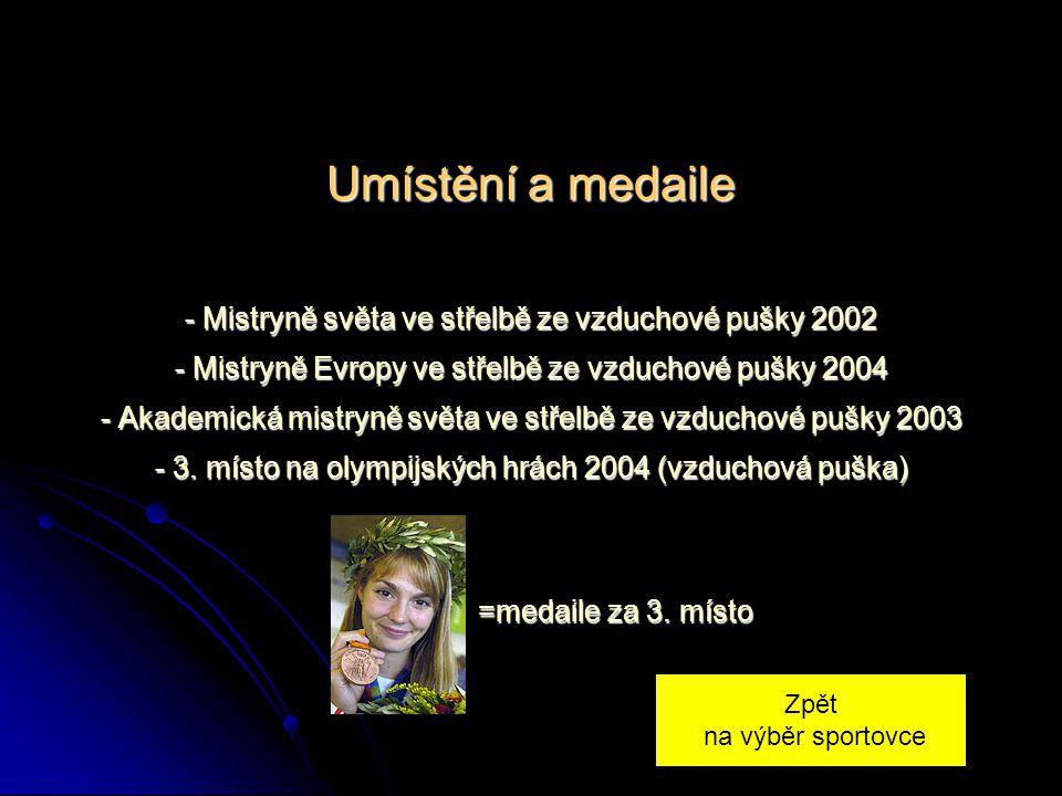 Umístění a medaile - Mistryně světa ve střelbě ze vzduchové pušky 2002