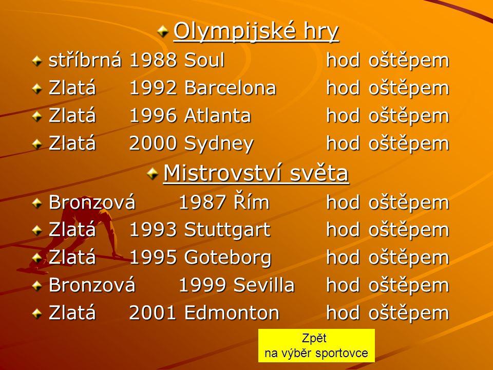 Olympijské hry Mistrovství světa stříbrná 1988 Soul hod oštěpem