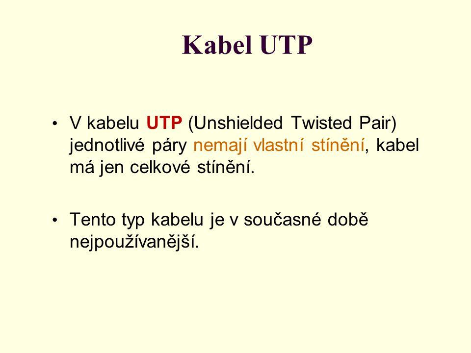 Kabel UTP V kabelu UTP (Unshielded Twisted Pair) jednotlivé páry nemají vlastní stínění, kabel má jen celkové stínění.