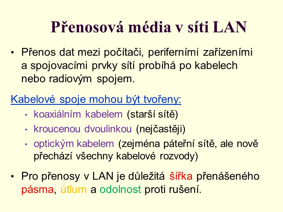 Přenosová média v síti LAN