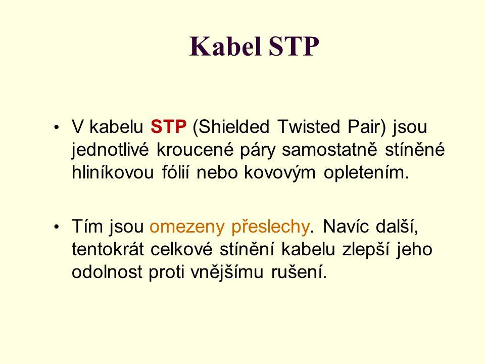 Kabel STP V kabelu STP (Shielded Twisted Pair) jsou jednotlivé kroucené páry samostatně stíněné hliníkovou fólií nebo kovovým opletením.