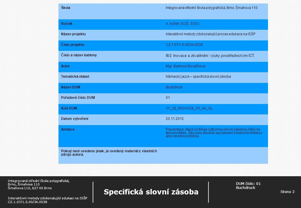 III/2 Inovace a zkvalitnění výuky prostřednictvím ICT.