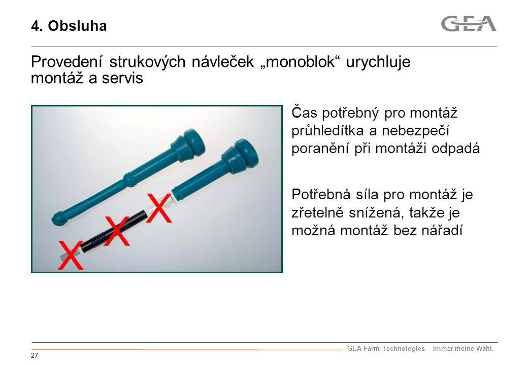 """4. Obsluha Provedení strukových návleček """"monoblok urychluje montáž a servis."""