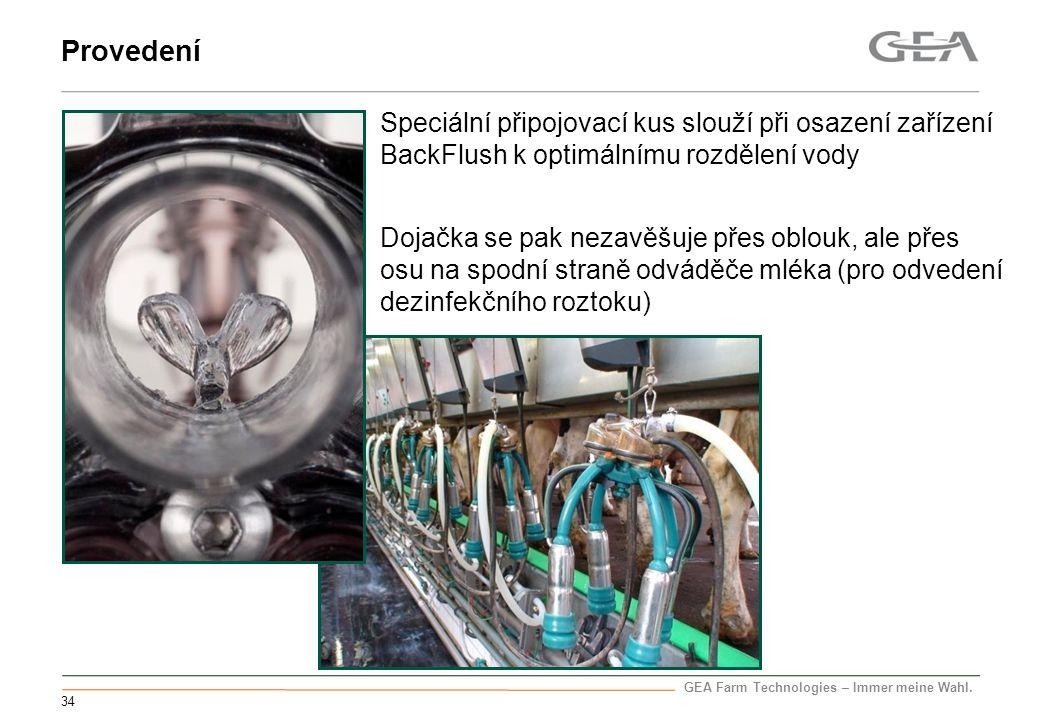 Provedení Speciální připojovací kus slouží při osazení zařízení BackFlush k optimálnímu rozdělení vody.