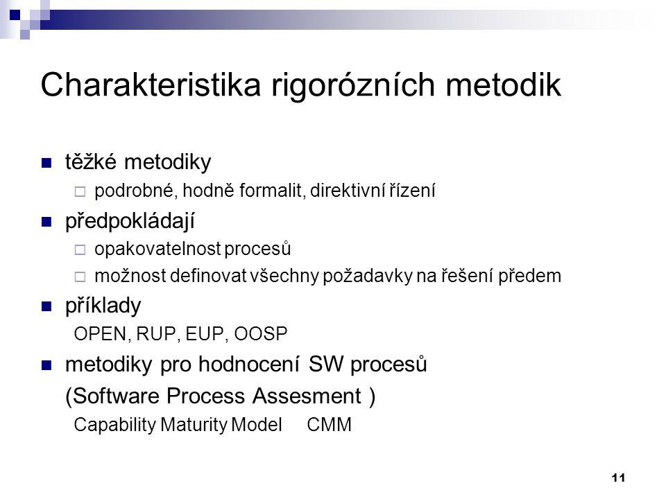 Charakteristika rigorózních metodik