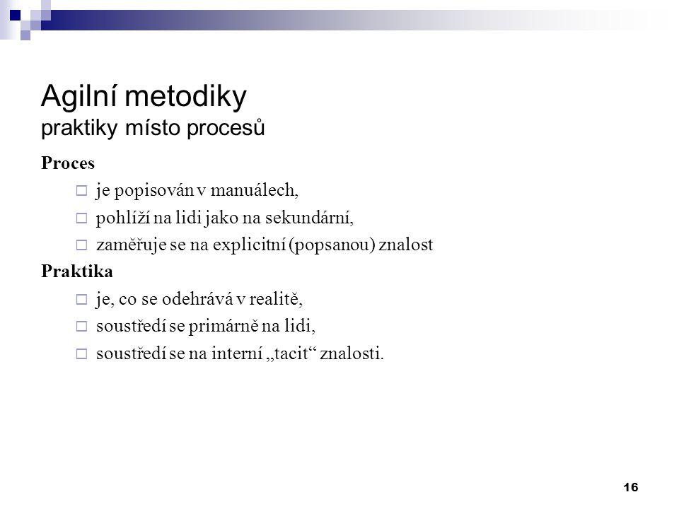 Agilní metodiky praktiky místo procesů