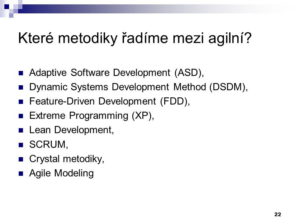 Které metodiky řadíme mezi agilní