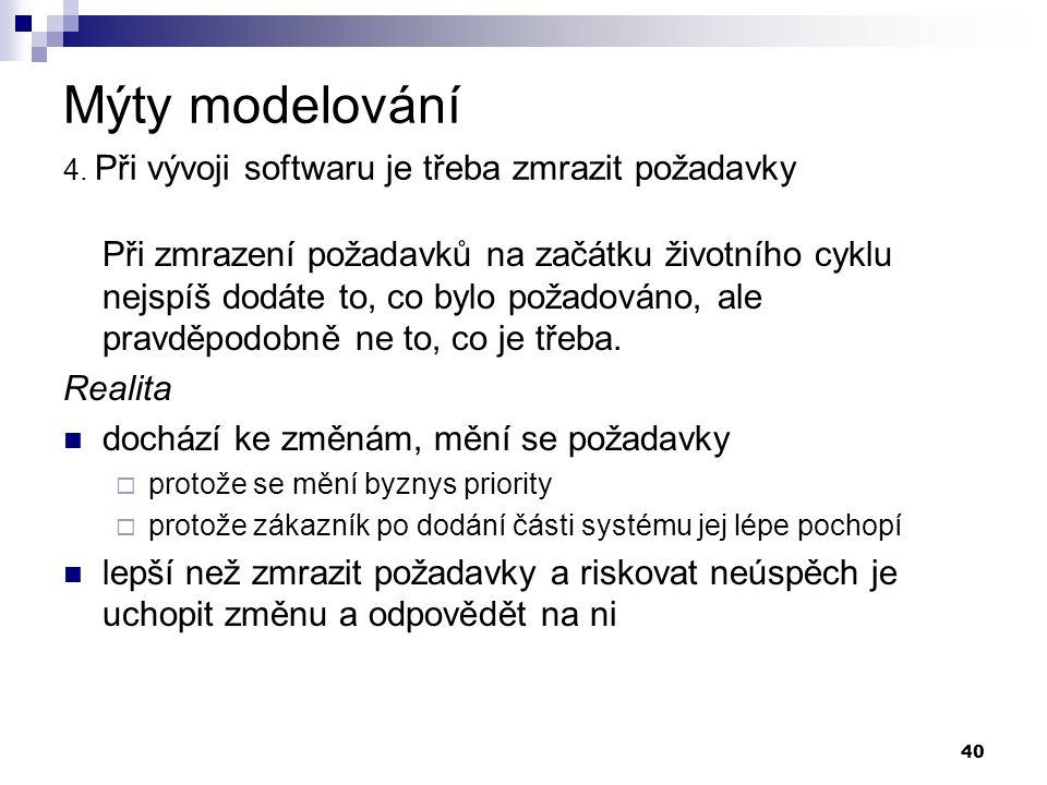Mýty modelování 4. Při vývoji softwaru je třeba zmrazit požadavky
