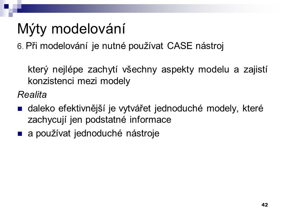 Mýty modelování 6. Při modelování je nutné používat CASE nástroj