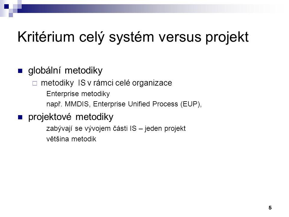 Kritérium celý systém versus projekt